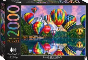 Illustrated 2000pc Jigsaws: Hot Air Balloons Over Mountains