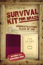 2016 Survival Kit for Grads NIV NIV Bible plus The Story DevotionalItalian DuoTone Razzleberry