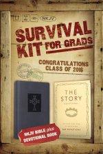2016 Survival Kit For Grads NKJV NKJV Bible plus The Story DevotionalItalian DuoTone Slate Blue