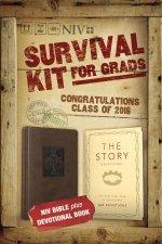 2016 Survival Kit For Grads NIV NIV Bible plus The Story DevotionalItalian DuoTone Chocolate