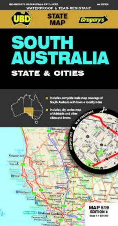 south australia state cities map 519 8th ed waterproof by ubd gregorys