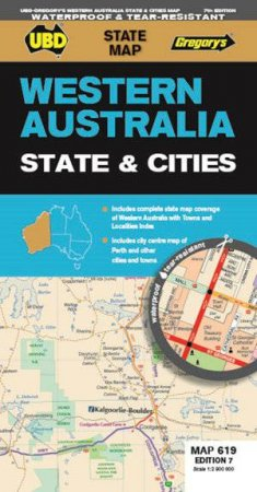 Western Australia State & Cities Map 619 7th Ed (Waterproof)