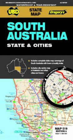 South Australia State & Cities Map 519 9th Ed Waterproof