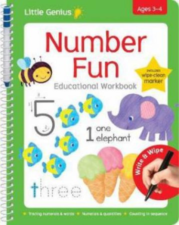 Little Genius Wipe Clean Work Books with Pen: Number Fun