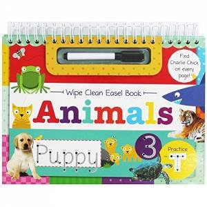 Wipe Clean Easel Book With Pen: Animals