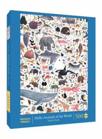 Hello Animals Of The World 500-Piece Family Puzzle by Brendan Wenzel